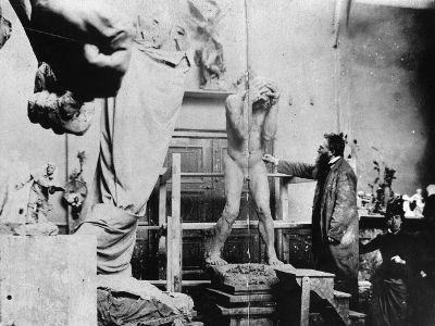 Fotografia di Auguste Rodin in uno dei suoi studi