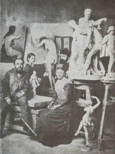 Fotografia di Alfred Boucher nel suo atelier parigino