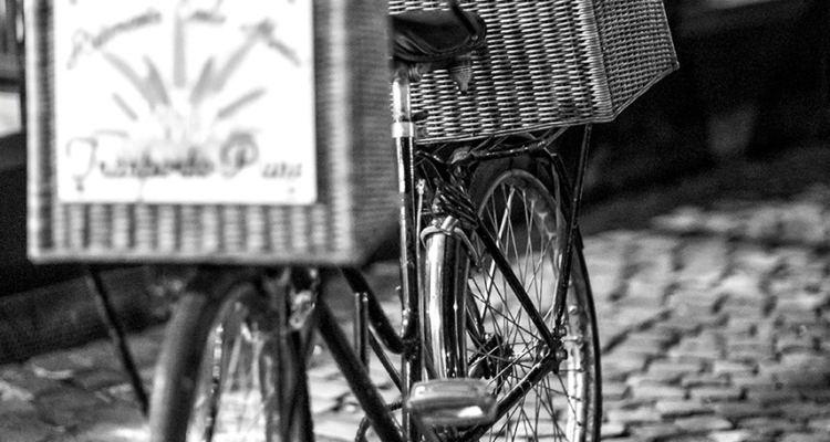 foto in bianco e nero di una bicicletta con due ceste