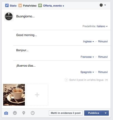 aggiornamento facebook multilingua