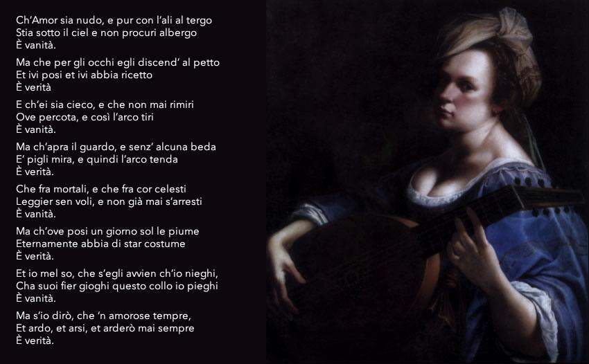 Dipinto di Artemisa Gentileschi dal titolo Autoritratto come suonatrice di liuto (1615-17 ca) - Testo di Francesca Caccini