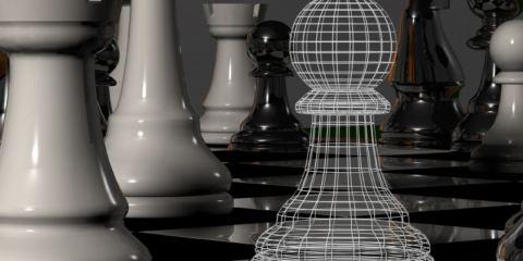 pedoni in una scacchiera