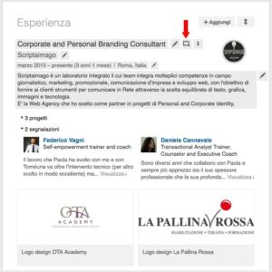 Posizionare contenuti sull'area esperienze di Linkedin