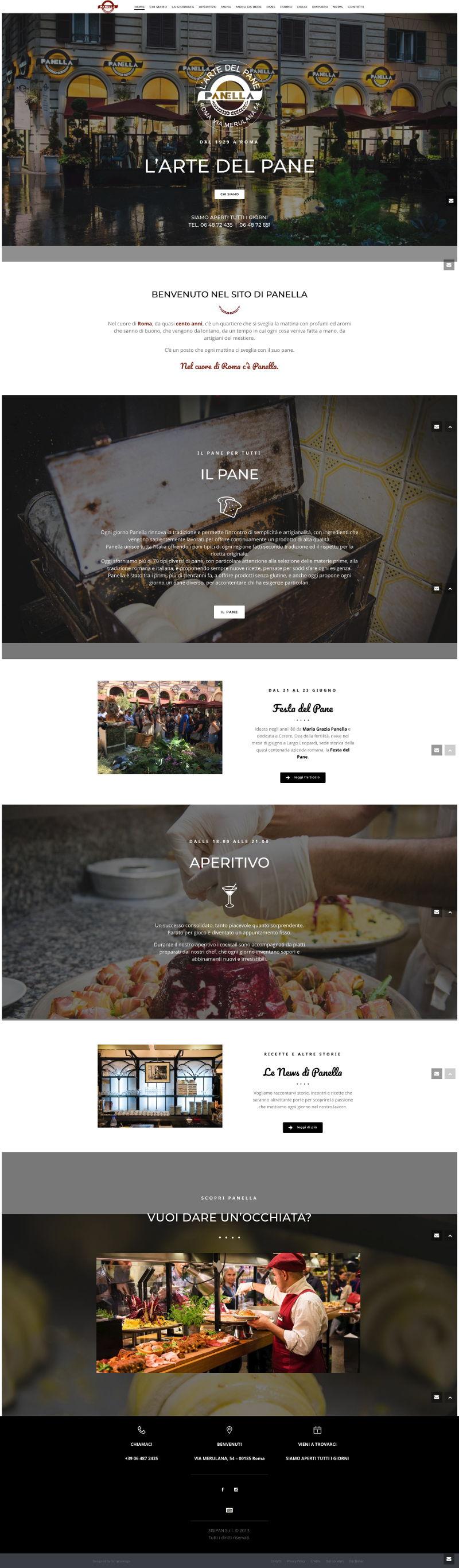 screenshot della homepage del sito Panella