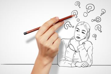 disegno di donna con punti di domanda